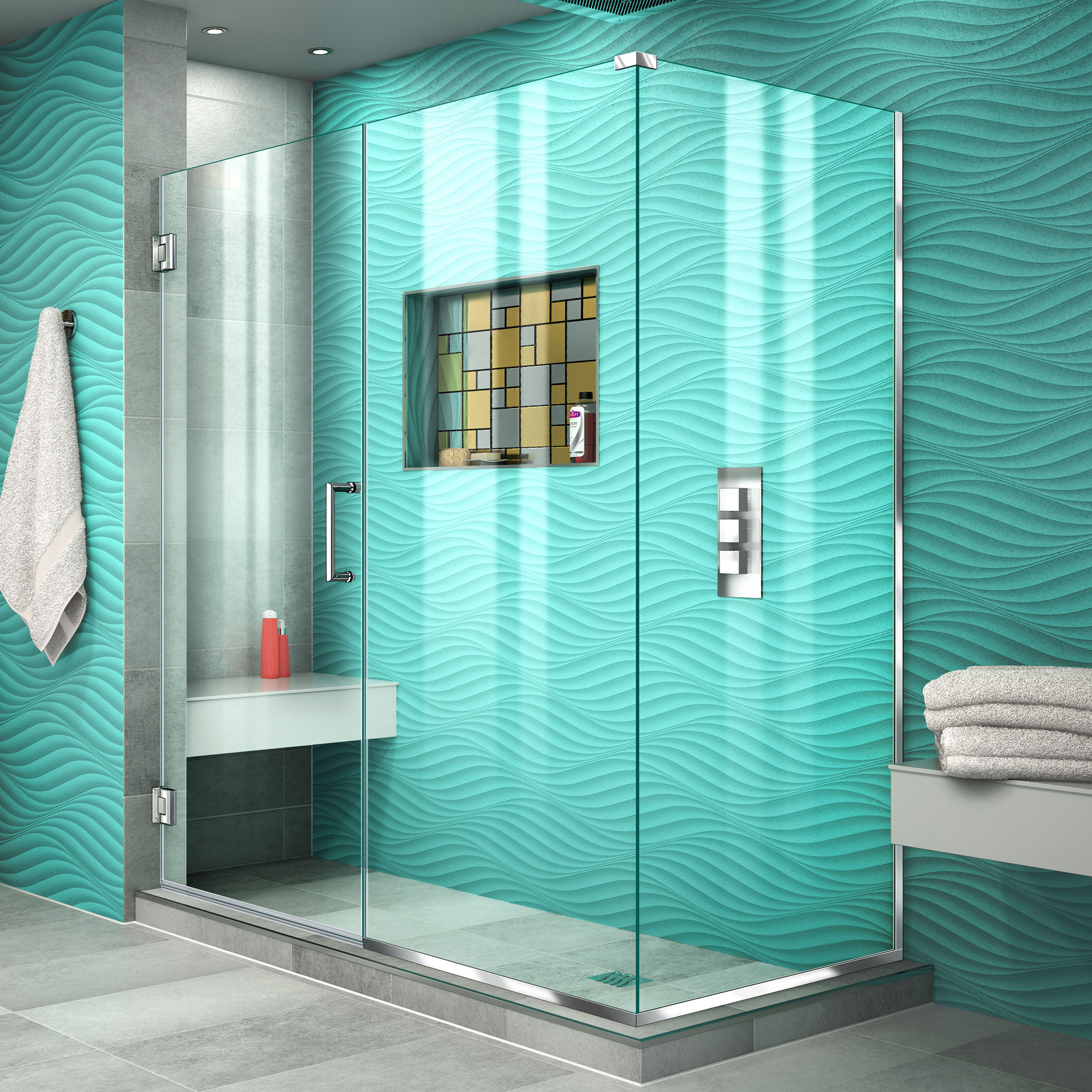DreamLine Unidoor Plus 55 1/2 in. W x 30 3/8 in. D x 72 in. H Frameless Hinged Shower Enclosure in Chrome