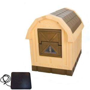 Dog Palace Insulated Dog House with Heating Pad, Large, Inside Dimensions 30.5″H x 24″W x 35.5″L, Wheat/Brown