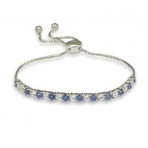 Suzy Levian Sterling Silver Sapphire and Diamond Accent Adjustable Bolo Tennis Bracelet