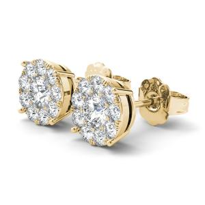 1 1/4Ct TDW Diamond 10K yellow Gold Cluster Stud Earrings