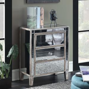 Convenience Concepts Gold Coast Large 3 Drawer Mirrored End Table, Multiple Finishes