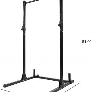 Everyday Essentials Multi-Function Adjustable Power Rack Exercise Squat Stand with J-Hooks and Other Accessories, 500-Pound Capacity