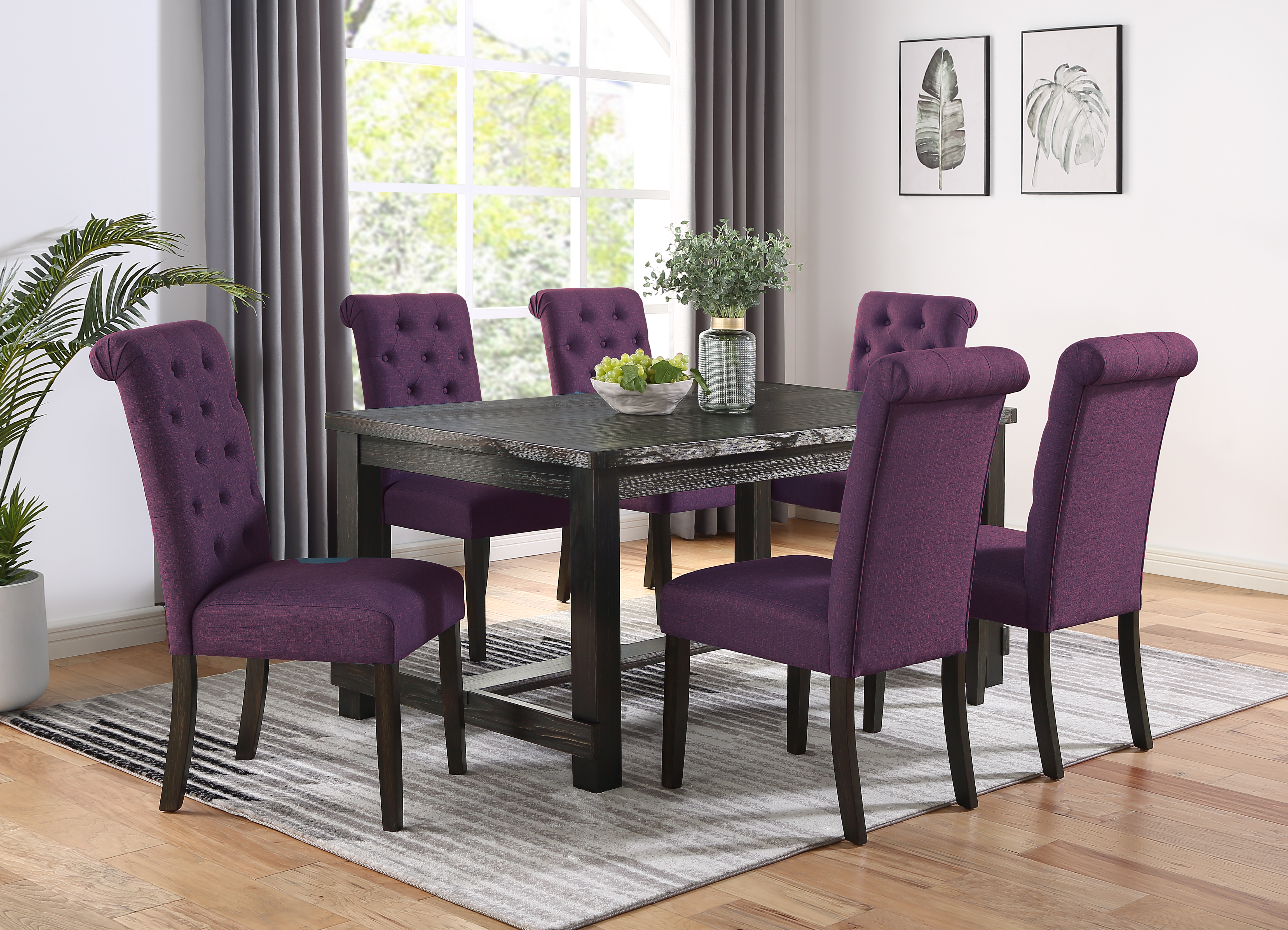 Leviton Antique Black Finished Wood Dining Set, Table with Six Chair