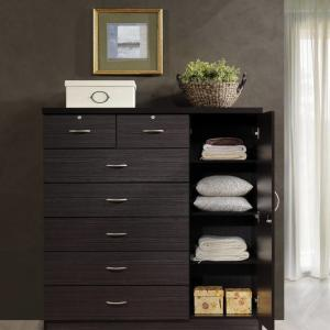 Hodedah 7-Drawer Dresser with Side Cabinet equipped with 3-Shelves, Chocolate