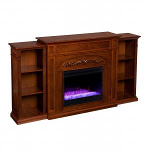 Crayfire Color Changing Fireplace w/ Bookcases