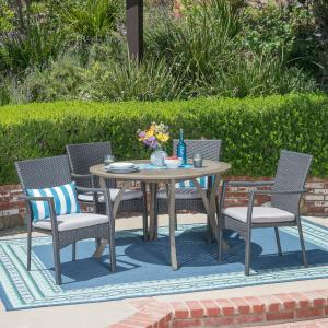 Baldwin Outdoor 5 Piece Acacia Wood and Wicker Dining Set with Cushions, Gray, Gray
