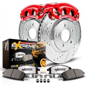 Power Stop Front Z36 Truck & Tow Brake Pad and Rotor Kit with Red Powder Coated Calipers KC1946-36