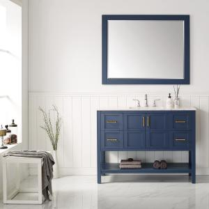 Vinnova Florence 48″ Vanity in RoyalBlue with Carrara White Marble Countertop With Mirror