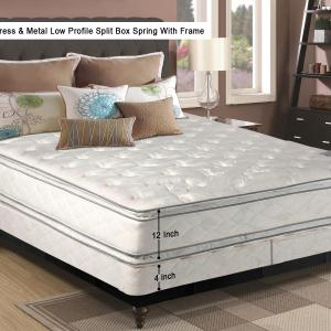 Continental Sleep, 12-Inch medium plush Double sided Pillowtop Innerspring Fully Assembled Mattress and 4-Inch Semi Flex Box Spring/Foundation Set with Frame, Twin Size
