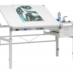 """SD Alpha White Metal Drafting Table with Split Top and Storage"""