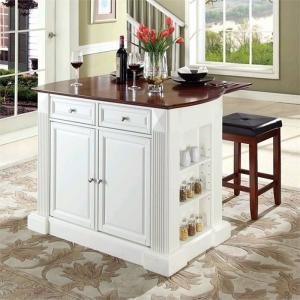 Crosley Furniture Drop Leaf Breakfast Bar Top Kitchen Island with 24″ Upholstered Square Seat Stools