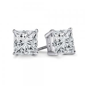 1 Carat GSI Certified Princess Diamond Studs in 14K White (I2-I3 clarity, F-H-I color)