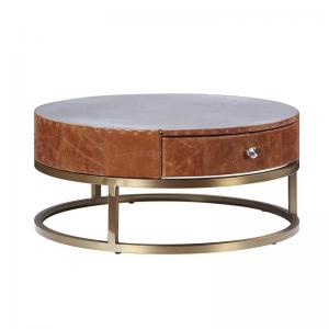 Acme Tamas Coffee Table with Drawer in Aluminum & Cocoa