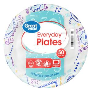 Great Value Everyday Paper Plates, 8 3/8″, 50 Count