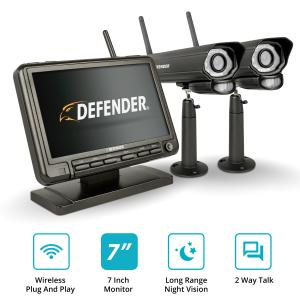 Defender PhoenixM2 Digital Wireless 7″ Monitor DVR Security System with 2 Long-Range Night Vision Cameras and SD Card Recording