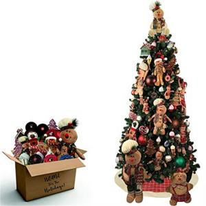 Fraser Hill Farm 152-Piece Gingerbread Holiday Decoration Set with 7.5-Ft. Prelit Canyon Pine Artificial Tree with Smart String Lights