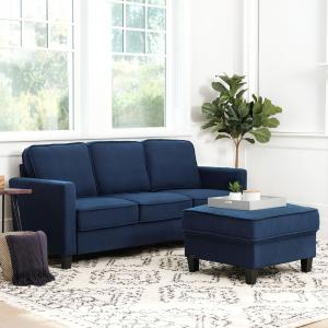 Devon & Claire Malabar Fabric Sofa and Ottoman Set, Navy Blue