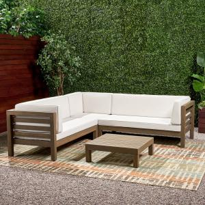 Argentine 4 Piece Outdoor Wooden Sectional Set with Cushions, Grey Finish, White