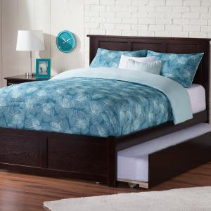 Madison Full Platform Bed with Flat Panel Foot Board and Full Size Urban Trundle Bed in Espresso