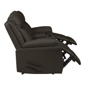 ProLounger Wall Hugger Storage Reclining Loveseat in Espresso Brown PU with Console