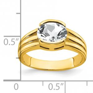Primal Gold 14 Karat Yellow Gold 8x6mm Oval Cubic Zirconia Ring