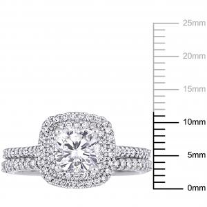 1 Carat T.G.W. Cushion-Cut Moissanite and 1/2 Carat T.W. Diamond 14kt White Gold Double Halo Bridal Set