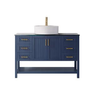 Modena 48″ Vanity in RoyalBlue with Glass Countertop with White Vessel Sink Without Mirror