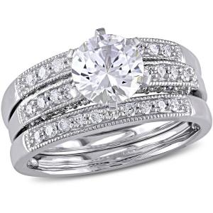 1 Carat T.G.W. Created White Sapphire and 2/5 Carat T.W. Diamond 10kt White Gold Three-Piece Bridal Set