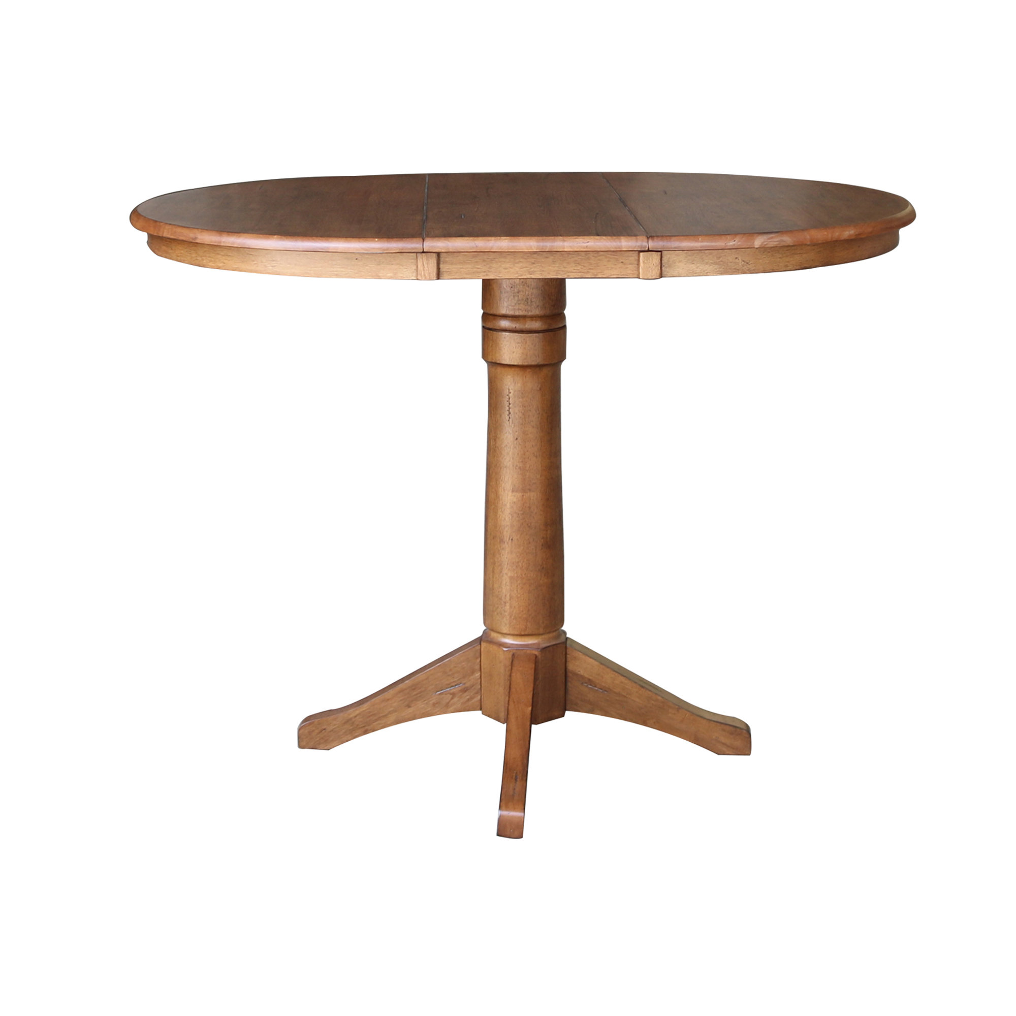36″ Round Extension Dining Table with 4 X-Back Stools