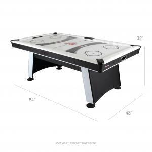 Atomic Blazer 7′ Air Hockey Table with Heavy-Duty Blower, Electronic Scoring, Leg Levelers, and Overhang Rail