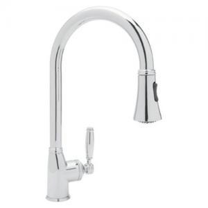 Rohl Michael Berman Gotham Single Hole Side Lever Pulldown Kitchen Faucet In Polished Chrome