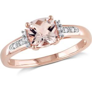 Tangelo Tangelo 1 Carat T.G.W. Cushion-Cut Morganite and Diamond-Accent 10kt Rose Gold Cocktail Ring