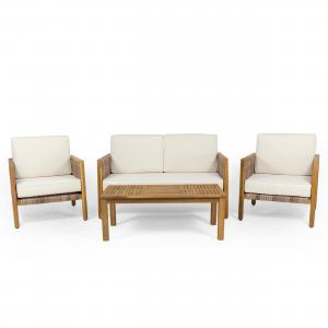 Zelda Outdoor 4 Seater Acacia Wood Chat Set with Wicker Accents, Teak, Light Multi-Brown, Beige