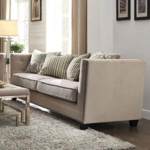 ACME Juliana Down Feather Filled Sofa with 4 Pillows, Beige Fabric