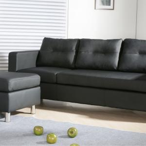 Caius Modern Faux Leather Configurable Left and Right Facing Sectional Sofa and Ottoman Set, Black