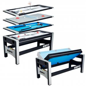 ESPN 72″ 4 in 1 Swivel Combo Game Table, Table Tennis, Hockey, Billiards, Finger Shot Basketball, Quick & Easy Transform