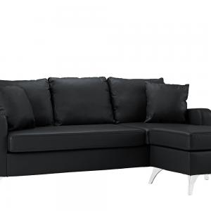 Mobilis Bonded Leather Sectional Sofa – Small Space Configurable Couch, Black