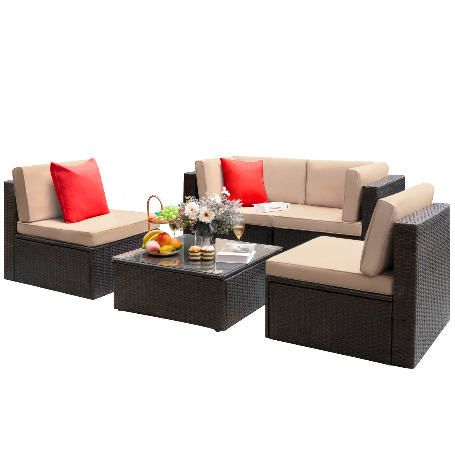 Walnew 5 Pieces Outdoor Patio Sectional Sofa Sets All-Weather Wicker Rattan Conversation Sets With Glass Table (Beige)