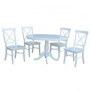 36″ Round Extension Dining Table With 4 X-Back Chairs – 5 Piece Set – White