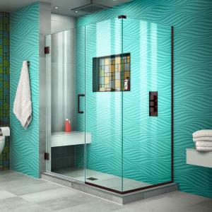 DreamLine Unidoor Plus 51 in. W x 34 3/8 in. D x 72 in. H Frameless Hinged Shower Enclosure in Oil Rubbed Bronze