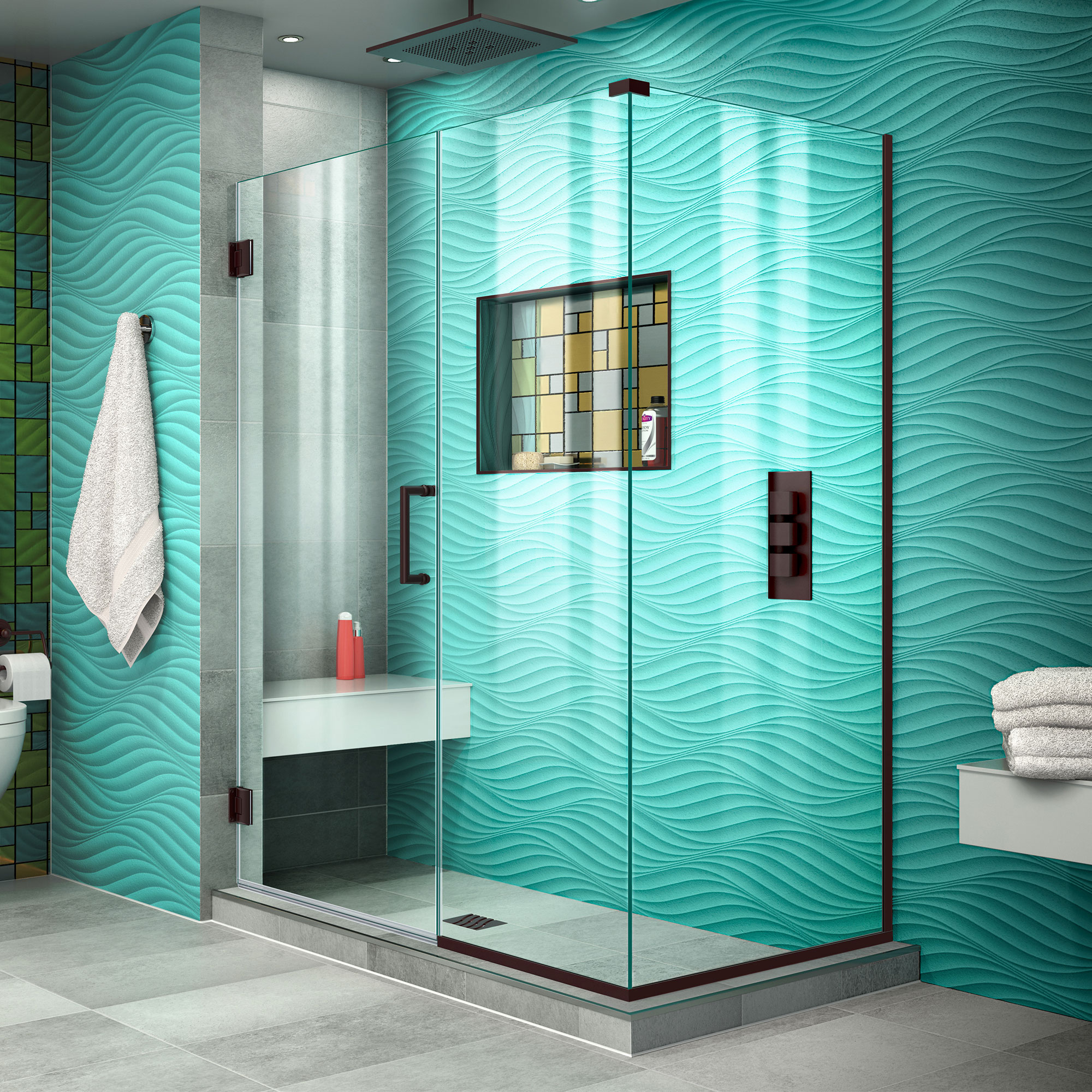 DreamLine Unidoor Plus 46 1/2 in. W x 34 3/8 in. D x 72 in. H Frameless Hinged Shower Enclosure in Oil Rubbed Bronze