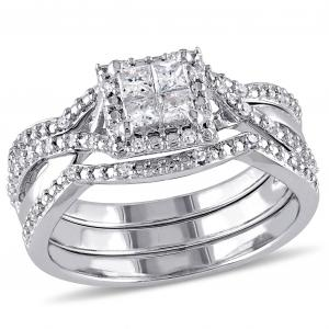 1/2 Carat T.W. Princess and Round-Cut Diamond Halo Sterling Silver Three Piece Bridal Set