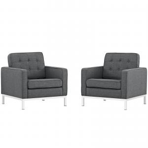 Loft Armchairs Upholstered Fabric Set-Color:Light Gray