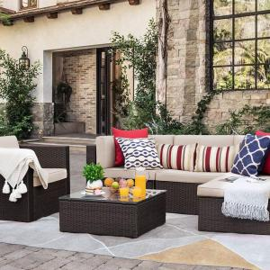 Walnew 6 Pieces Patio Furniture Set Outdoor Sectional Sofa Outdoor Furniture(Beige)