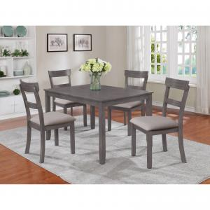 Crown Mark Grey Henderson 5-Pk Dining Set, 30″ high Table with 4 chairs