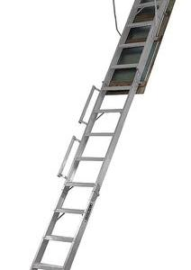 Louisville Ladder Aluminum Attic Ladder w 10′ – 12′ length, 22.5″ x 63″ opening 350 lbs Load Capacity, AL258P