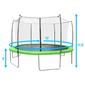 Pure Fun Dura-Bounce 12-Foot Trampoline, with Safety Enclosure, Green