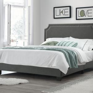 Regal Upholstered Bed with Nail Trim Headboard, King