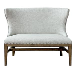 Home Meridian Shelter Back Nail head Trim Loveseat in Heather Gray