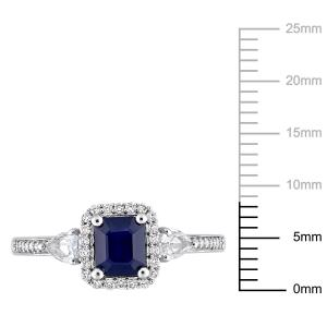 1 Carat T.G.W. White and Blue Sapphire and 1/6 Carat T.W. Diamond 14kt White Gold Engagement Ring